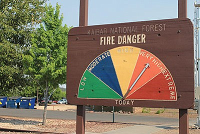 A sign near the Grand Canyon Railway Depot lets people know that fire danger on the Kaibab Forest is very high. Wendy Howell/WGCN