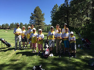 Levi Burlington Jack Dent, Donnie Dent, Sara Renaldo, Anna Little, Serra Little, Tommy Ross, Mia Schmitz, Otto Jorgenson, (back row) Jace Maebe, Brody Trimble and Braylon Miller prepare to play their first match at Pine Canyon Golf Course. Submitted photo