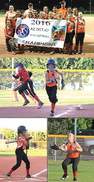 Top: The 9-10 Williams Softball All-Stars won the District 10 championship game June 30. They head to the state tournament July 18. Middle: Chesnie Carter streaks home during the championship game with Verde Valley. Below Left: Riley McNelly takes a swing. Below Right: Jaycie Dent fields a ball. Submitted photo and Wendy Howell/WGCN