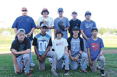 The Williams 13-14 Junior All-Star baseball team was selected June 14. Team members include clockwise from top left: John Bryant, Caesar Santana, Caleb Betz, Kody Kelley, Chance Pearson, Luis Urias, Kolby Payne, Zain Grantham, Mario Vasquez and Alex Howell. Missing are Angel Ayala and Dorian Ayala. Coaches are Rocque Montoya and Steve Sutton. Wendy Howell/WGCN