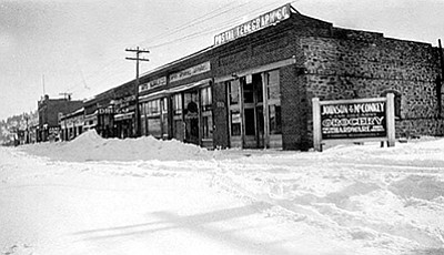 Johnson and McConkey Grocery and Hardware graced the corner of Route 66 and Third Street in downtown Williams in 1920. Do you have any information about this photo? If so, email Williams reporter whowell@williamsnews.com. Photos/Cline Library