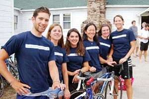 Pictured from left to right are bikers Chris Clark, Liz Smietana, Ivey Wohlfeld, Anita Chang, Risa Griffin and Kim Webber. Over 31 bicyclists rode from North Carolina to California this summer in order to raise money for affordable housing.