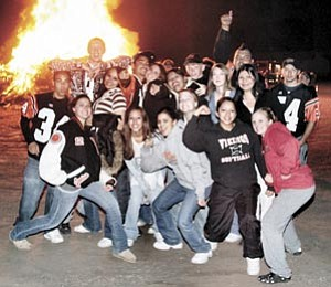 Students enjoy the senior bonfire held Sept. 27 at the Bob Dean Rodeo Grounds. No major problems were reported as a result of last week's festivities, according to Williams authorities.