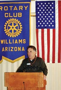 District Three Supervisor Matt Ryan talks theme park issues with members of the Williams Rotary Club during their regular meeting at Max and Thelma's Restaurant Feb. 7.