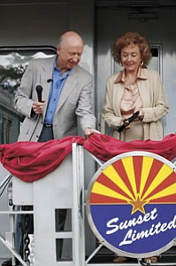 Max and Thelma Biegert prepare to cut the ribbon prior to the inaugural run of the Sunset Limited in September 2006.