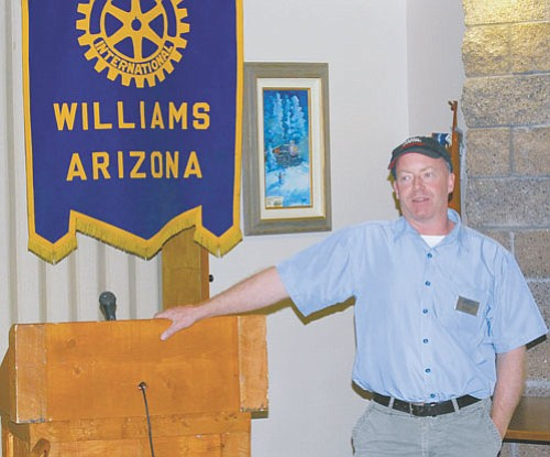 <br>Patrick Whitehurst/WGCN<br> Morgan O'Connor discusses environmental 'green' practices for the Grand Canyon Railway at the July 3 regular meeting of the Williams Rotary Club.