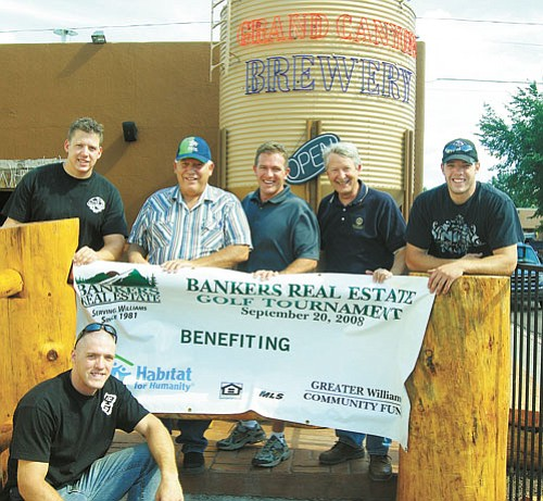 <br>Patrick Whitehurst/WGCN<br> Pictured from left to right is Josh Peasley (bottom), John Peasley, Bud Parenteau, John Rushton, Jim Bultema and Jeremy Peasley. The Peasley family, who owns Cruisers Cafe and the Grand Canyon Brewery, are the title sponsors for this year's Bankers Real Estate Golf Tournament.