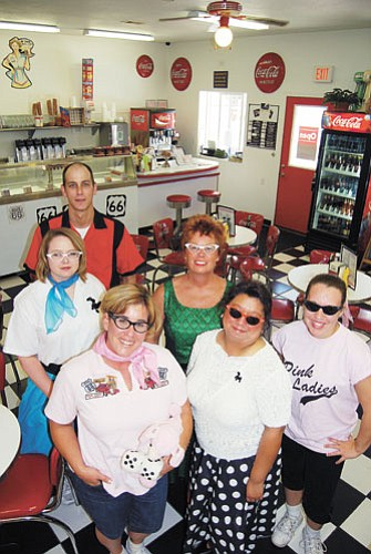 <br>Patrick Whitehurst/WGCN<br> Pictured from left to right is Jason Moore, Stefanie Moore, Sue Atkinson, Kim Winter, Pimi Bennett and Chardell Bennett at Twisters '50s Soda Fountain and Route 66 Cafe. Organizers have been working hard to put together this year's Cool Country Cruise-in and Route 66 Festival, which will kick off Friday with a burger burn at 11 a.m.