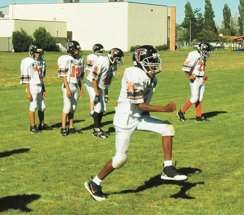 <br>Patrick Whitehurst/WGCN<br> Members of the Williams Elementary-Middle School Falcons practice Aug. 21.