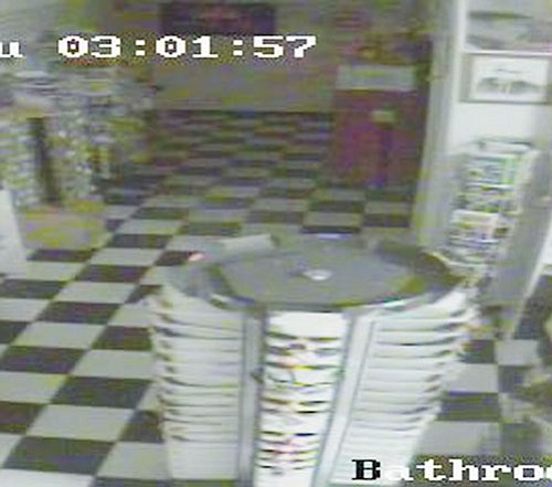 <br>From surveillance camera<br> Cameras at Twisters Route 66 Soda Fountain picked up what appeared to be a ghostly apparition Oct. 16.
