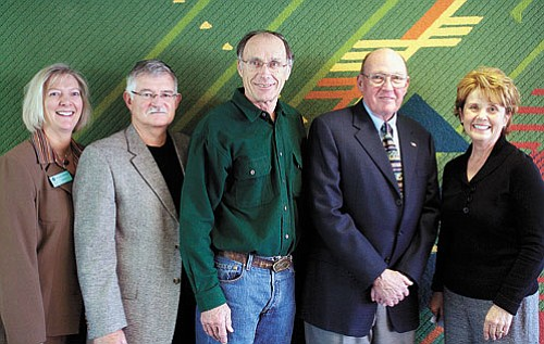 <br>Submitted photo<br> New board member Jack Hadley, along with returning board members Dr. Nat White  and Patrick Hurley, have been sworn in to begin their new Coconino Community College District Governing Board terms. The ceremony included CCC President Leah L. Bornstein, Hurley, White, Hadley and Coconino County Superintendent of Schools Cecilia Owen.