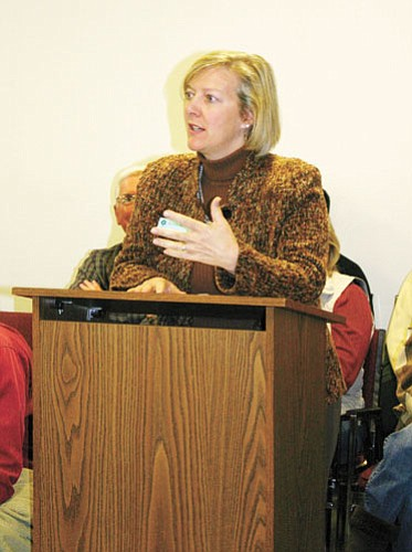 <br>Patrick Whitehurst/WGCN<br> Coconino Community College President Leah Bornstein talks about the WIlliams campus of the college to members of Williams City Council March 12.