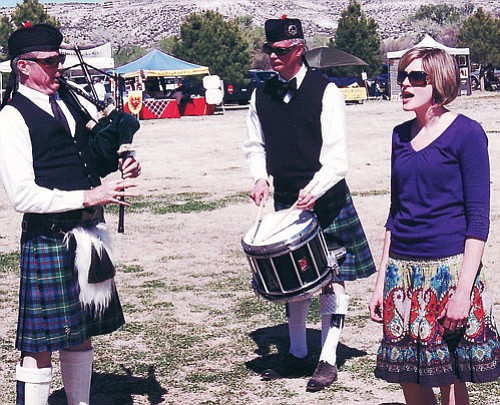 <br>Submitted photo<br> Pictured are Scott Grimes on the small pipes, Drum Sergeant Geoff Pavey and singer Katie Wamble.
