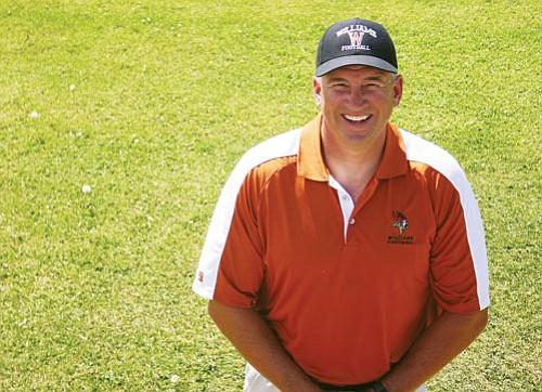 Patrick Whitehurst/WGCN Vikings Coach Jeff Brownlee on the Williams High School football field.