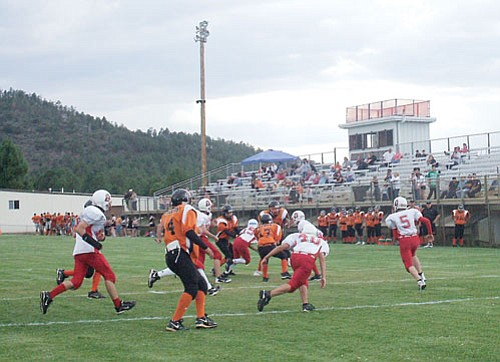 Photo/Sharon Weems The Falcons ran the ball well during their 28-4 victory over Bradshaw Mountain.