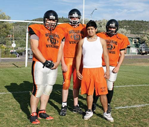 <br>Ryan Williams/WGCN<br> The Viking offensive line came alive in the second half of their win against Grey Hills. Pictured left to right are Christian Prieto, Chase MacArthur, Eric Leon and Kole Wiese. (Not pictured: David Flores and Jr. Esparza.)