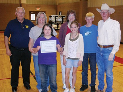 <br>Submitted photo<br> Pictured from left to right, top to bottom is Bud Parenteau with the Williams Kiwanis Club, Sandra Borrego, Teacher Mary Kriste, student Tim Hockensmith, Kiwanis member Herb Johnson, Jennifer Borrego, and student Barbara Heerkens.