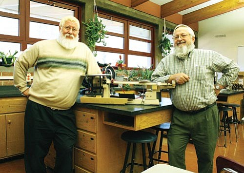 <br>Ryan Williams/WGCN<br> Teachers Mike Fleishman (left) and Larry Gutshall plan to offer new technologies to students at Williams High School.