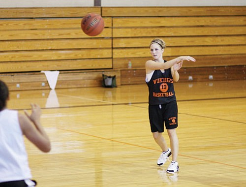 <br>Ryan Williams/WGCN<br> Ashley Bean works on the Lady Vikes offense during a recent practice.