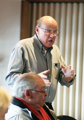 <br>Ryan Williams/GCGN<br> Coconino Community College Board member Jack Hadley discusses the importance of the college's presence during a recent Rotary meeting.