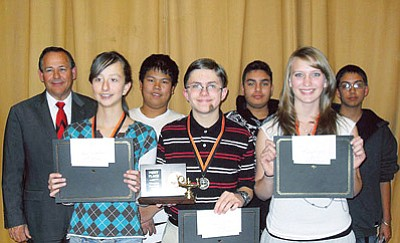 <br>Submitted photo<br> Pictured left to right are John Lechtenberger, Chenell MacRae, Shean Ponce, Jeff Ellico, Julio Belmontes, April Zicopoulus and Noel Calderon. The students participated in the first Williams Elementary-Middle School Knowledge Bowl.