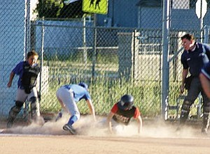 A player on the Williams Little League majors Storm team slides into home base at a game from earlier this season. Regular play is over for the majors and several players from all three WLL majors teams were chosen and have been playing on the Williams All Star team for the district championship. If Williams comes out victorious, the team will go to the state playoffs for the first time.