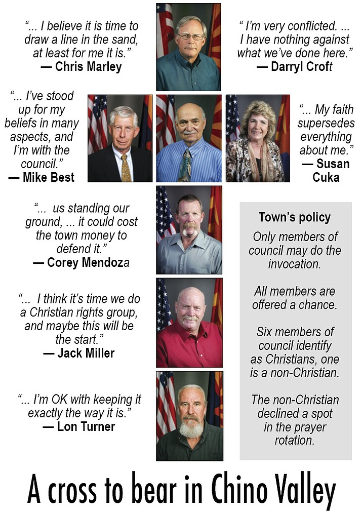 """Chino Valley has been ending its invocation with """"praying in Jesus' name"""" for years. The controversy began on Dec. 8 when a Chino Valley resident, Sherry Brown, objected to the practice. (WNI Illustration)"""
