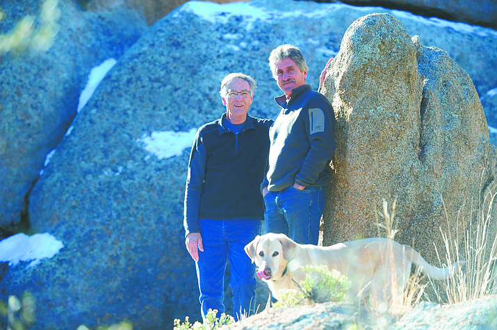Monte Anderson's, left, new nonfiction book, The Choice, details a death-defying health scare his friend David Scalia, at right, (a former Prescott firefighter) faced.