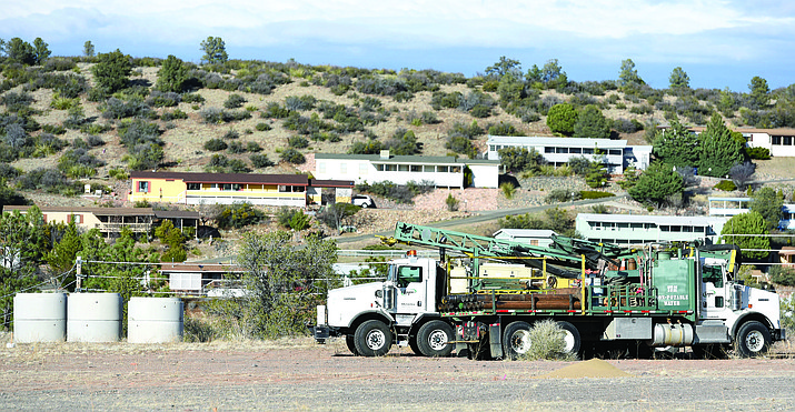 A pair of trucks sit empty in a vacant lot across the street from Frontier Village on Highway 69 in Prescott Thursday afternoon. The empty lot will be the location of the Yavapai-Prescott Tribe's newest casino.