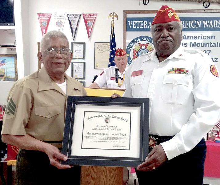 Left MOPH Commander Alfonso Santillan Jr., center MCL Commandant Bob Wallace, right Gunnery Sergeant James Boyd.