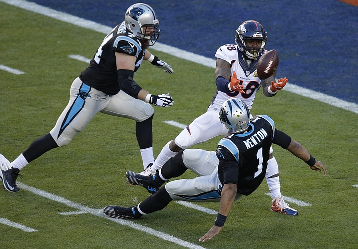 Broncos' Von Miller (58) strips the ball from Carolina Panthers' Cam Newton (1) during Super Bowl 50. The Broncos recovered the ball for a touchdown. The Denver Broncos have placed their exclusive franchise tag on Super Bowl 50 MVP Von Miller.