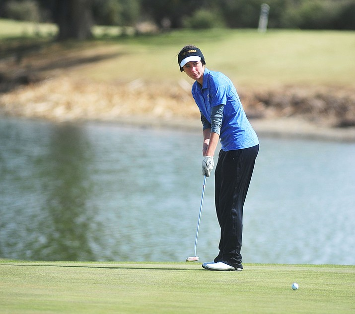 Embry Riddle golf's Jennifer Baltimore putts for a par during the ERAU Spring Invite at the Antelope Hills Golf Course Monday morning. (Les Stukenberg/The Daily Courier)