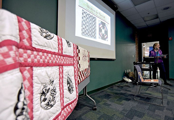 """Historian Pamela Knight Stevenson gives her American Humanities lecture """"Written in Thread: Arizona Women's History Preserved in Their Quilts"""" Thursday evening at the Prescott Public Library."""