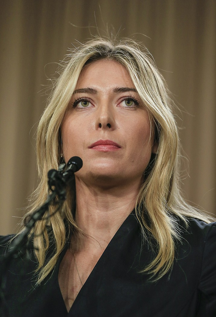 Tennis star Maria Sharapova speaks during a news conference in Los Angeles on Monday, March 7. Sharapova says she has failed a drug test at the Australian Open.