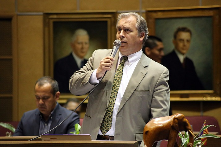 Sen. Adam Driggs, R-Phoenix, speaks during debate on his campaign finance proposal that would expand the influence of dark money in Arizona politics at the state Legislature in Phoenix March 8.