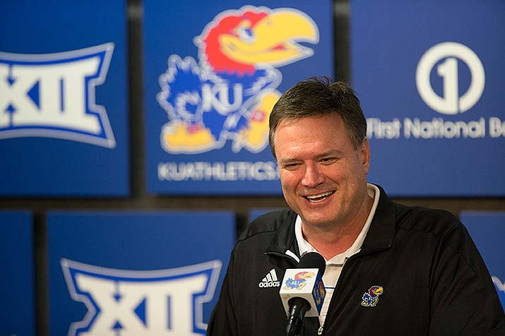 Kansas head coach Bill Self speaks to the media during a news conference after the NCAA Tournament selection show on CBS, Sunday, March 13, in Lawrence, Kan.