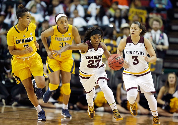 Arizona State guard Elisha Davis (23) drives downcourt as California's Mikayla Cowling, left, Kristine Anigwe, second from left, and ASU's Sabrina Haines, right, run behind her in the second half of an NCAA college basketball game in the Pac-12 Conference tournament, Friday, March 4, 2016, in Seattle. California beat Arizona State 75-64.
