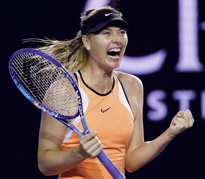 In this Sunday, Jan.  24, file photo, Maria Sharapova of Russia celebrates after defeating Belinda Bencic of Switzerland in their fourth round match at the Australian Open tennis championships in Melbourne, Australia. Sharapova's racket supplier became the first main sponsor to publicly back the five-time Grand Slam champion after she admitted to failing a doping test. Austria-based company Head announced Thursday, March 10, it was planning to extend its sponsorship deal, three days after Sharapova revealed her use of the banned substance meldonium.