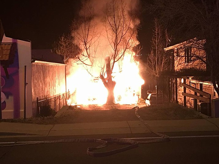 Firefighters made quick work of a shed and carport fire in downtown Prescott early Wednesday morning. No injuries were reported.