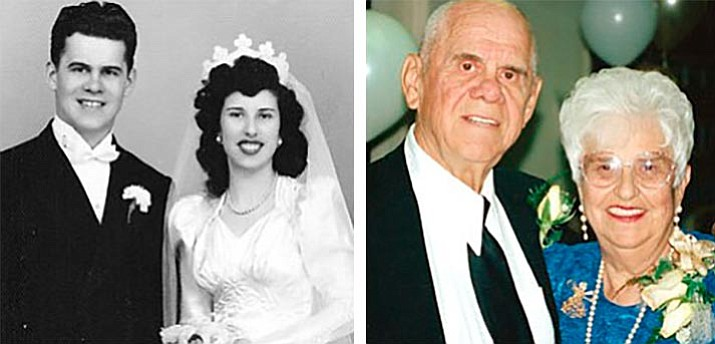 Left Photo: Ken and Ann Thomas on their wedding day in 1948.