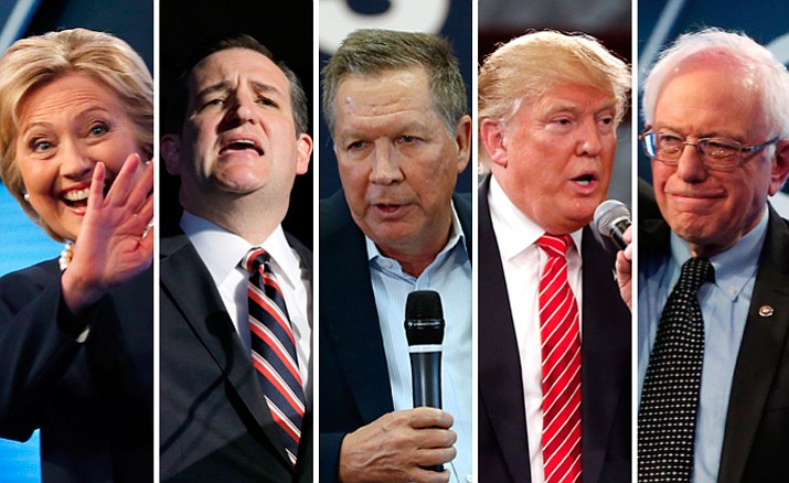 From left, are former Secretary of State Hillary Clinton, a Democrat; Republican Sen. Ted Cruz; Republican Gov. John Kasich of Ohio; Republican businessman Donald Trump; and Democratic Sen. Bernie Sanders.