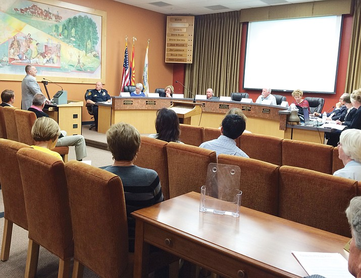 Prescott City Attorney Jon Paladini explains the requirements of the Arizona Open Meeting Law, as well as the U.S. Fair Housing Act, to members of the new Mayor's Ad Hoc Committee on Structured Sober Living Homes during the first meeting of the group on March 10.
