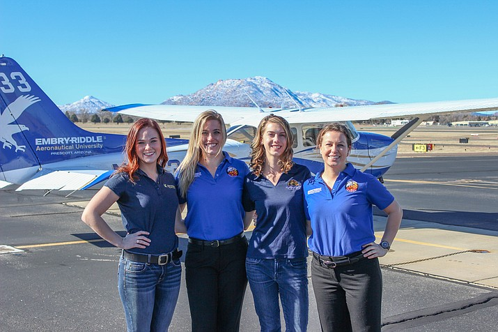 Embry-Riddle Aeronautical University students Hannah Rooney (left), Hannah Burright, Rachel Hutzell and Shelby King will be participating in this year's Air Race Classic.