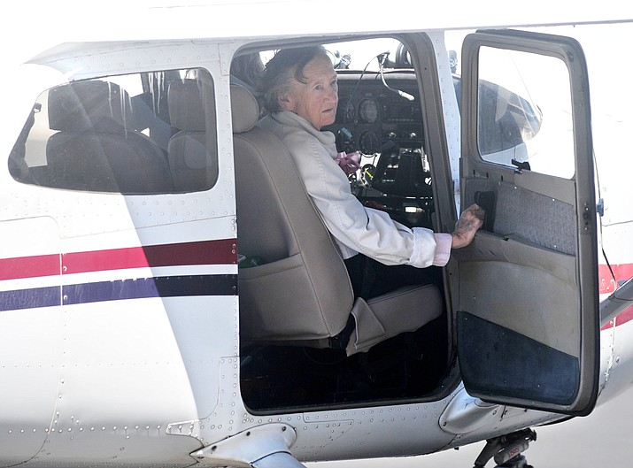 Irene Leverton arrives via a Cessna at Prescott's North-Aire Aviation from Cottonwood Thursday afternoon. (Les Stukenberg/The Daily Courier)