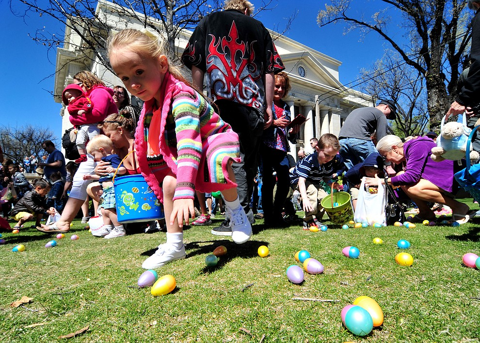 Organized mayhem ruled the grass during the Great Prescott Easter Egg Hunt Saturday morning on the Yavapai County Courthouse Plaza.(Les Stukenberg/The Daily Courier)