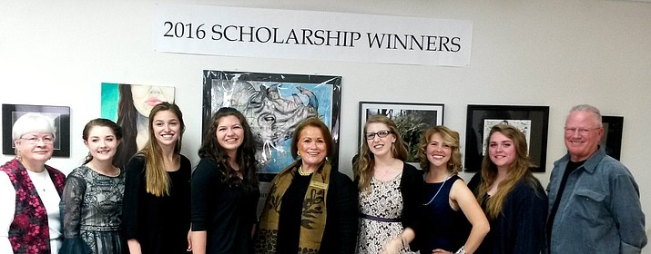 From left, Judge Linda Umphrey; Sara Davidson from Prescott College; Andie Gonzales of Prescott High School; Emily Sparks from Prescott High School; Scholarship Chairperson Donna Carver; Aurora Berger from Prescott College; Shannon Radke, Prescott College; Kailey Dougherty, Bradshaw High School; and Doug Oliver, chair of the Scholarship Jury Team.
