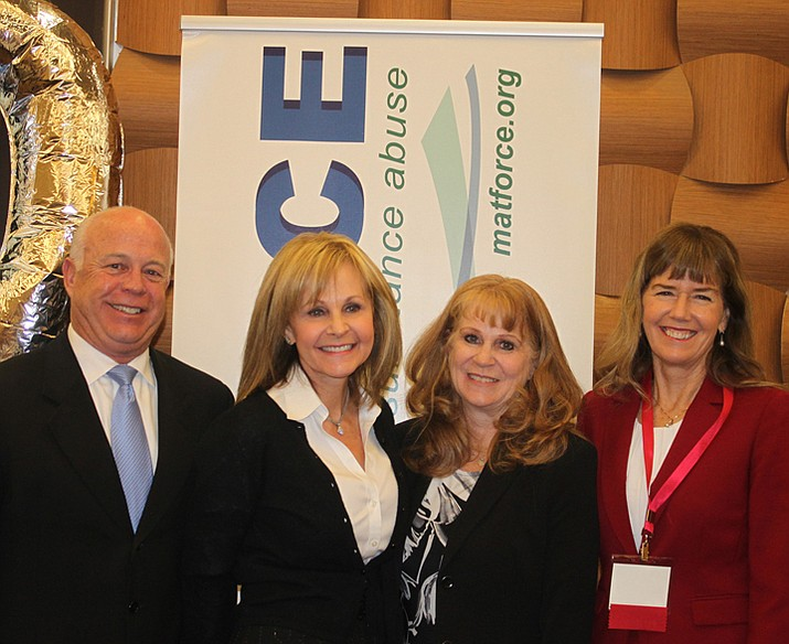MATFORCE celebrated its first 10 years of working to reduce substance abuse on Feb. 10 at the Prescott Resort. Speakers included (l to r): Doug Bartosh, Cottonwood City Manager; Debbie Moak, Director of the Governor's Office of Youth, Faith and Families; Merilee Fowler, MATFORCE Executive Director; and Sheila Polk, Yavapai County Attorney. Polk and Bartosh are MATFORCE Co-Chairs.