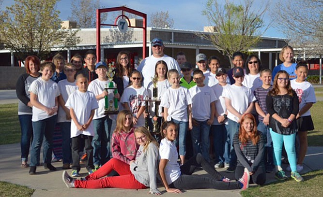 The 2016 Heritage Middle School archery team from Chino Valley, which competed at the state tournament March 19 in Phoenix, is as follows: Coaches include Marcia Valenzuela, Randi Diskin, Brain James and Natalie Dunbar-Latham; student archers include Amber Peterson, Brianna James Dallin Latham, Daysi Melendez, Emma Cianciola, Hunter Moreno, Emma Yakovich, Julien Pereda, Kyle Sohl, Lili Trueblood, Nathan Shreiner, Remi Andregg, Rhett Latham, Shawana Hartsock, Tanner Deskins, Vanessa Yeakle, Victoria Morena, Dayis Chapman, Aaron Moreno, Anthony Beard, Sandra Ayala, Hailey Castro, Braddin Myers and Andi Snedeker. (Not-pictured players include Nathan Shreiner, Landon Smith, Declan Statton, Caleb Aldaco and Ellie Joseph, as well as coaches Deanne Peterson, Hillary Palmer and Javier Valenzuela.)