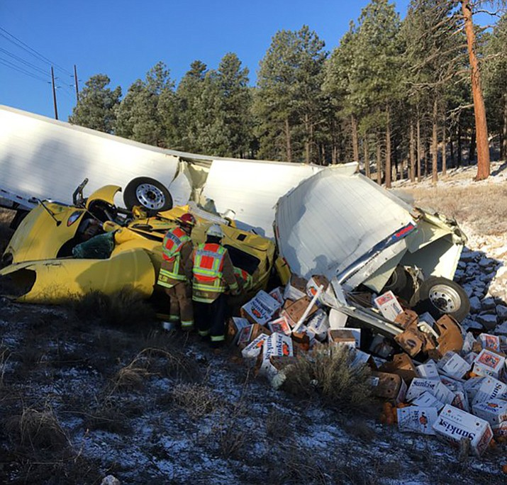 A semi truck crashed Wednesday on I-40 in Flagstaff, killing two people.