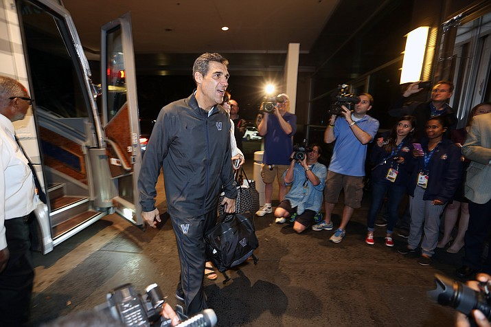Villanova men's basketball team head coach Jay Wright arrives in Houston, Wednesday, March 30. Villanova plays Oklahoma in the NCAA college basketball Final Four championship.